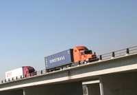 Highlight for Album: Trucks Crossing I-15 Bridge - 1/16/04